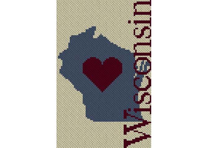 Heart Wisconsin C2C Crochet Pattern