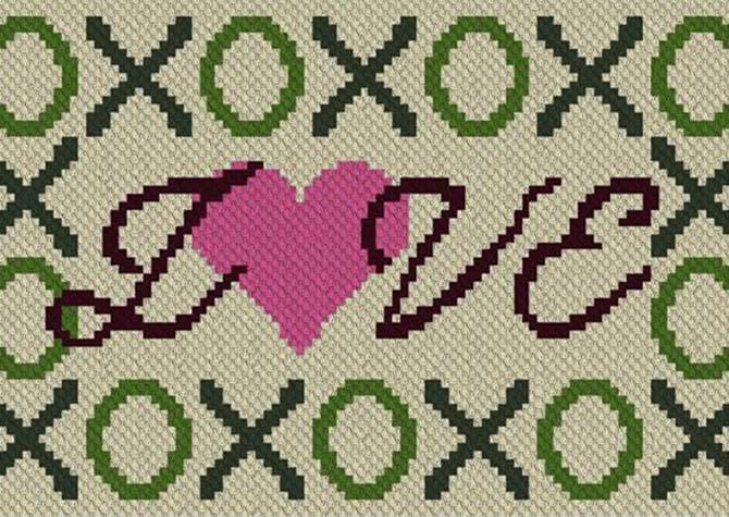 Hugs Kisses and Love C2C Crochet Pattern