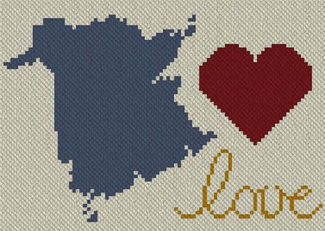 Love New Brunswick C2C Afghan Crochet Pattern