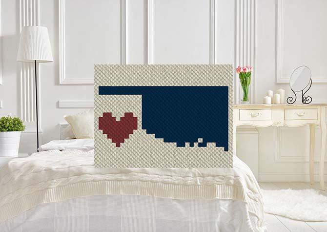 Heart Oklahoma Pillow C2C Crochet Pattern