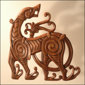 Celtic Creature Wood Carving