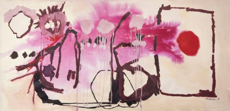 "Kelly Porter, Performed Vibration, acrylic and ink on canvas, 44"" x 90"""