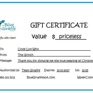 Christmas Gift Certificate Ideas.Christmas Gift Ideas Blue Giraffe 30a