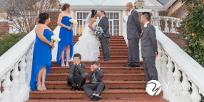 White and royal blue wedding party