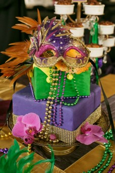 Mardi Gras cake in bright vibrant colors by Two Sweets Bake Shop