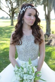 Bridal portrait with white stock and tulip bouquet