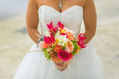 Stunning bridal bouquet of succulents, David Austin Juliet roses, Gloriosa, freesia, hot pink garden roses and more