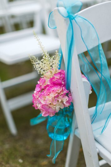 Bright pops of color for aisle markers
