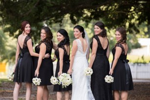 Bride and her maids in classic black with white and black bouquets - Bluegrass Chic Floral