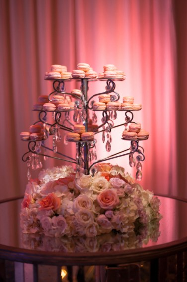 Macaroons on stand with floral bottom