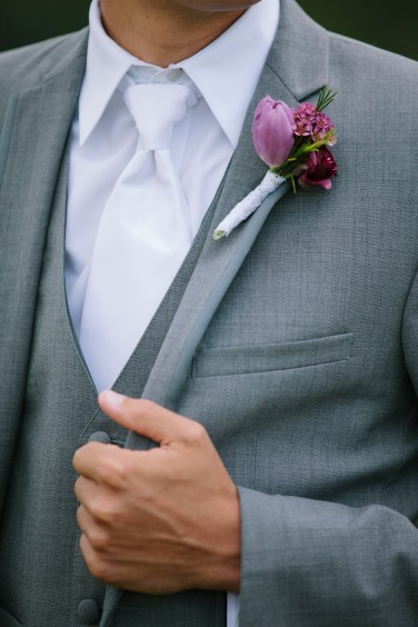 Isola Farms Wedding; Purple Tulip Boutonniere