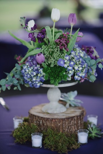 Isola Farms Wedding; Queen Anns Lace, Green Trick, Purple Tulips, Purple Wax Reception