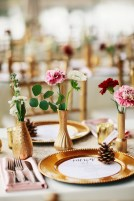 Gold vases of floral filled the room with floral
