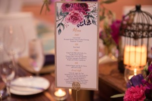 Beautiful stationary with pops of purple and pink flowers