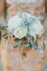 Dusty miller, rose, football mums and eucalyptus