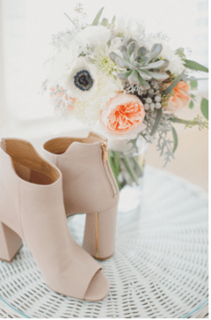 Booties and her bouquet
