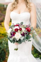 estate wedding, Contrasting bouquet, Southern elegance, romantic, jewel tone, red floral, Luxmore