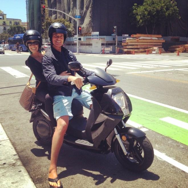 Cruising Santa Monica on the Vectrix, electric scooter