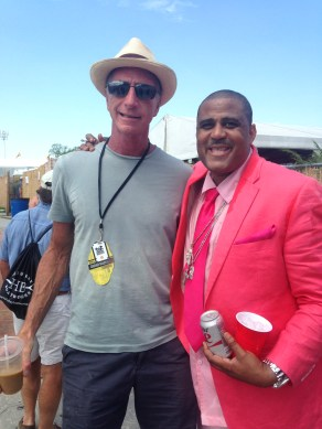 Robert meeting Glen David Andrews after an inspirational set in the Blues Tent