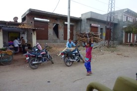 woman carrying sticks in India