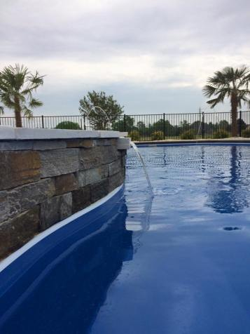 Caribbean Sapphire Blue TanningLedge Pool Tanning Combo Custom Water Feature Fencing img