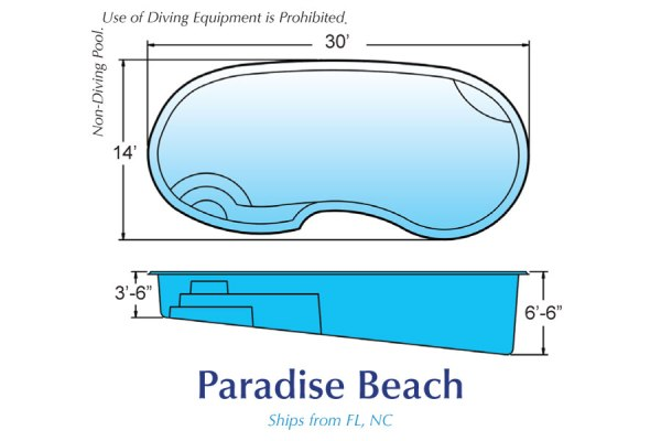 InGround Fiberglass Swimming Pool Shell for Sale in Michigan ParadiseBeach01