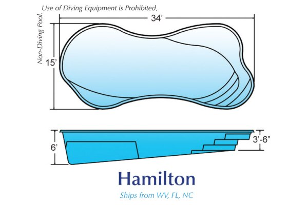In Ground Fiberglass Swimming Pool Shell for Sale in Michigan Hamilton