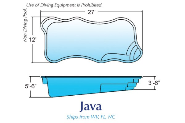 In Ground Fiberglass Swimming Pool Shell for Sale in Michigan Java