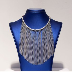 Rhodium Fringe with Brown Leather Necklace on a blue display element.