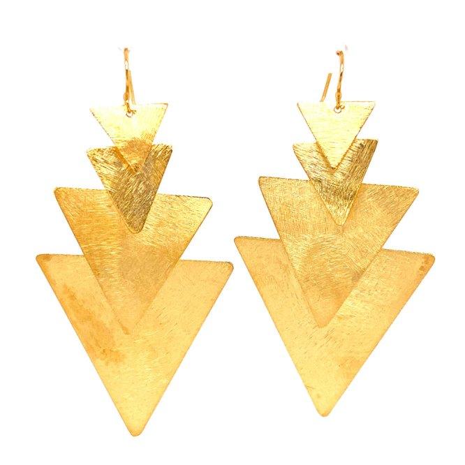 18KY Plated 4 Triangle Dangle Earrings