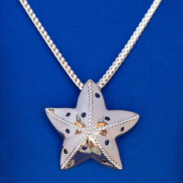 Blue Sapphire Starfish Pendant