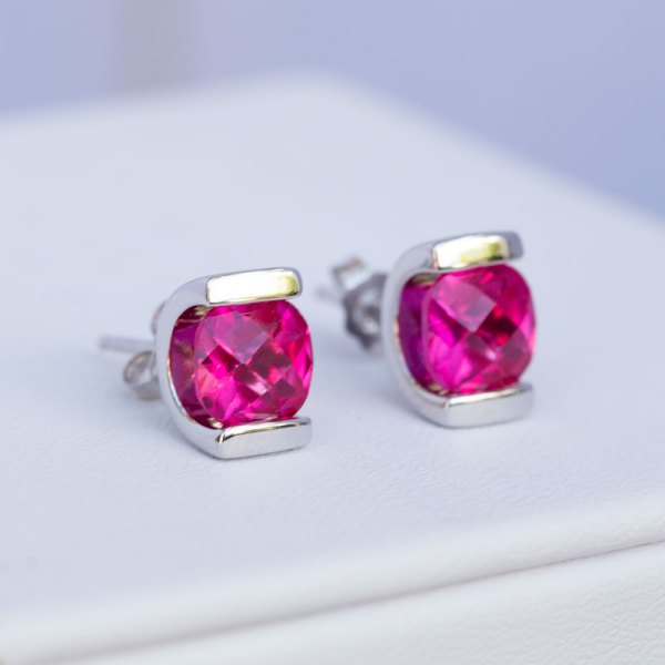 Pink Topaz Earrings angle view.