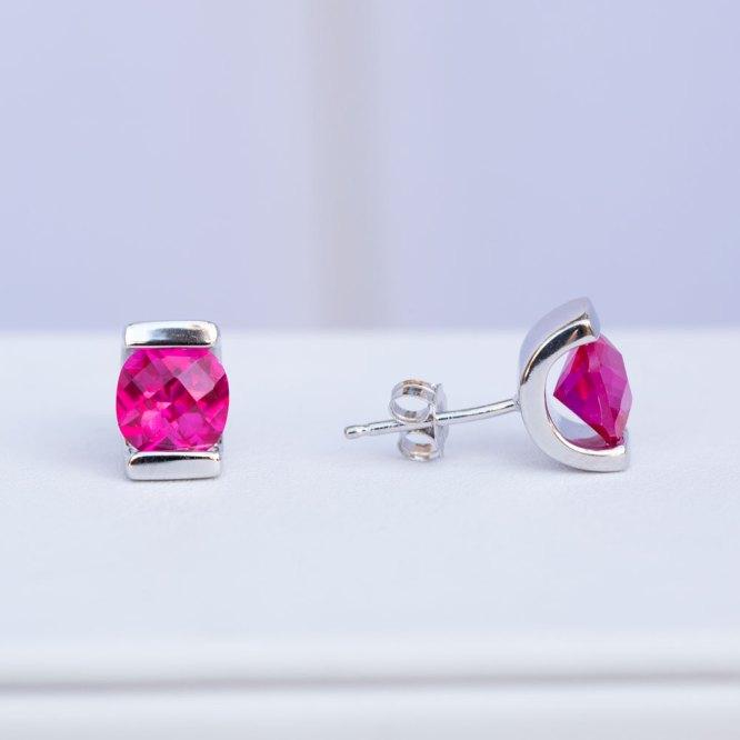 Pink Topaz Earrings with on turned sideways.