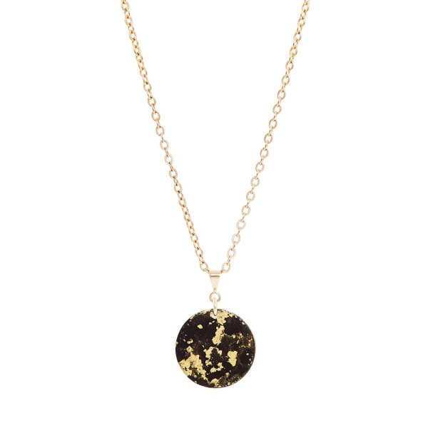 Black & Gold Fine Pendant NecklaceBlack & Gold Fine Pendant Necklace on a white background.