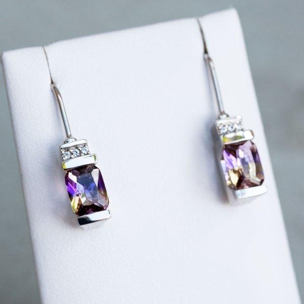 Ametrine Quartz & White Sapphire Earrings front view on a white display element.