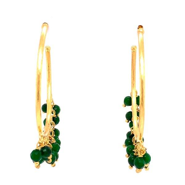 Front view of 7 pearl jade dangle hoop earrings by Creative Brazil