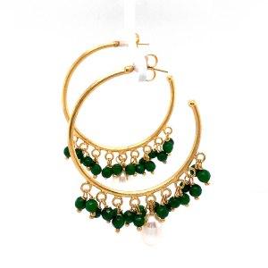 Side view of 7 pearl jade dangle hoop earrings by Creative Brazil