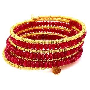 7 Row Ruby Jade Beads and Mesh Bracelet