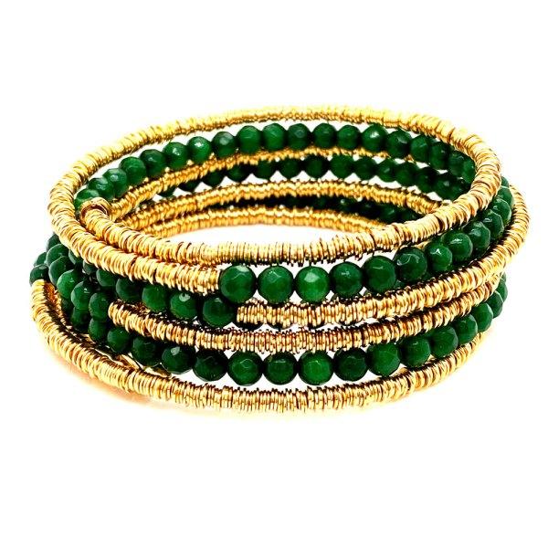 8 Row Jade & Mesh Bracelet