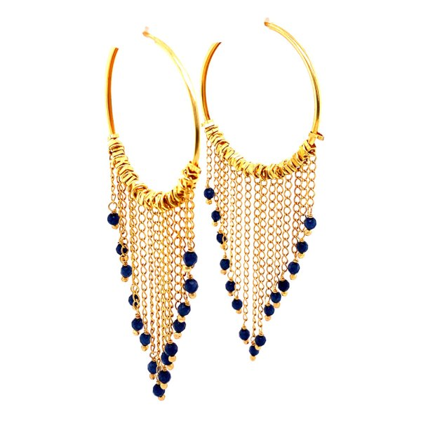 Angle view of 18KY Plated Bead Dangles from Hoop Earrings