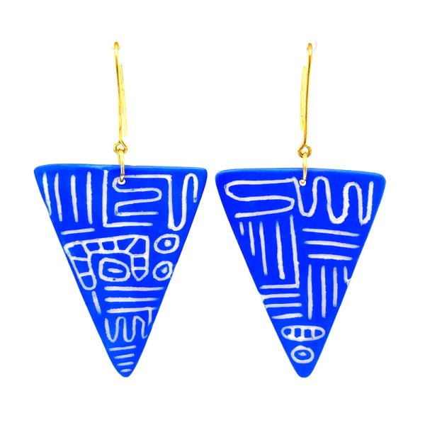 Blue Squiggled Fang Earrings front view.