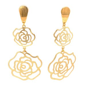Yellow Gold Double Rose Earrings