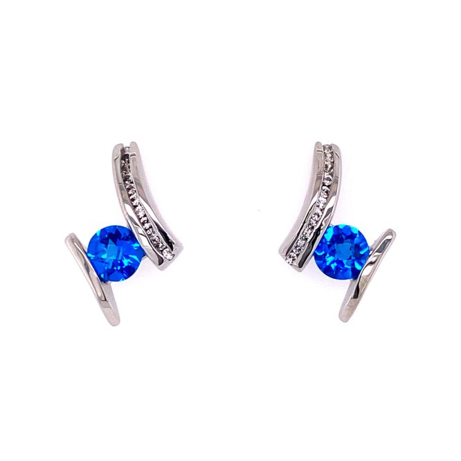 Kashmir Blue Topaz Earrings front view.