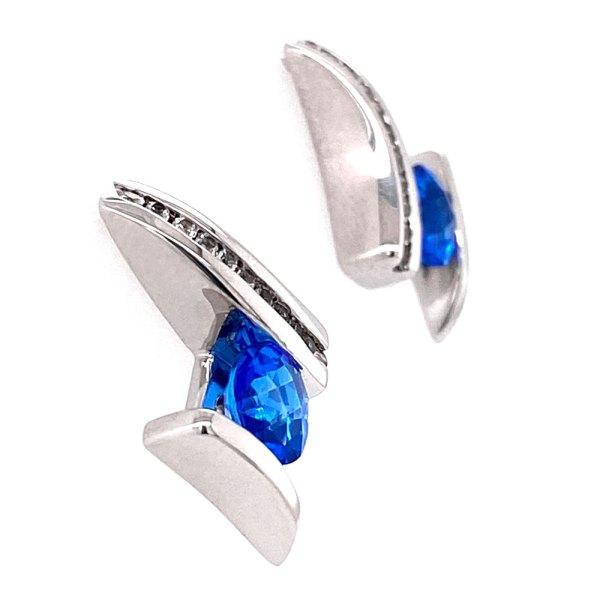 Kashmir Blue Topaz Earrings side view.