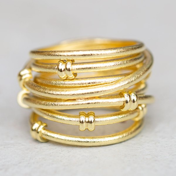 Yellow Gold Satin Fashion Ring front view.
