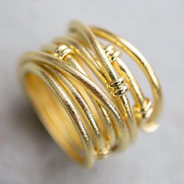 Yellow Gold Satin Fashion Ring angle view.