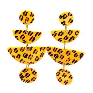 Leopard Geometric Porcelain Earrings