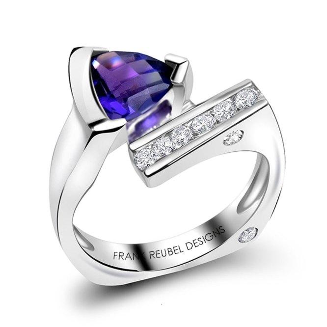 Trillion Cut Amethyst Ring
