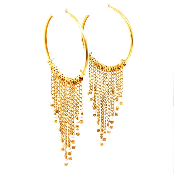 Angle view of 18KY Plated Pearl Dangles from Hoop Earrings by Creative Brazil