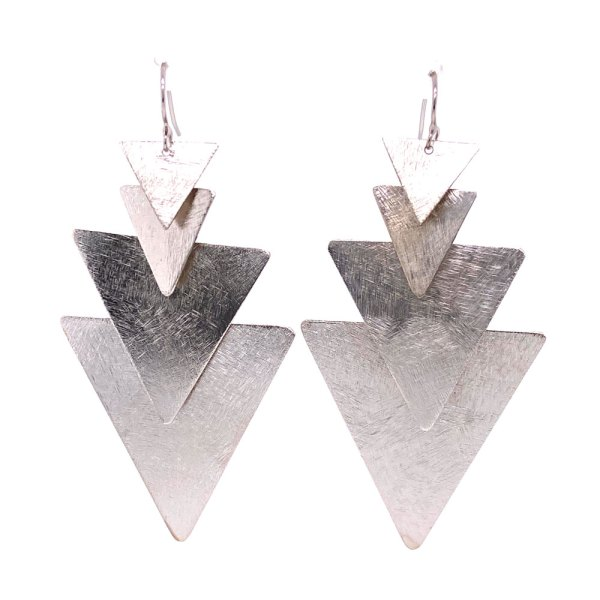 Rhodium Plated 4 Triangle Dangle Earrings